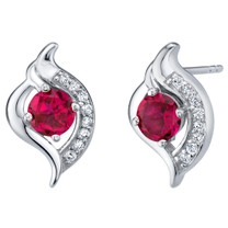 Created Ruby Sterling Silver Elvish Stud Earrings 1.25 Carats Total