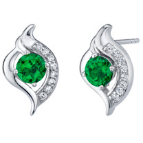 Simulated Emerald Sterling Silver Elvish Stud Earrings 1.00 Carat Total