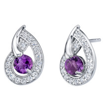 Amethyst Sterling Silver Nautilus Stud Earrings 1.00 Carat Total