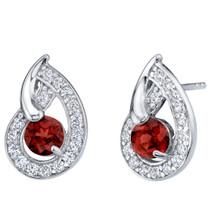 Garnet Sterling Silver Nautilus Stud Earrings 1.25 Carats Total