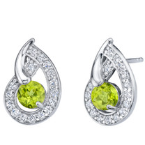 Peridot Sterling Silver Nautilus Stud Earrings 1.00 Carat Total