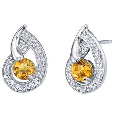 Citrine Sterling Silver Nautilus Stud Earrings 1.00 Carat Total