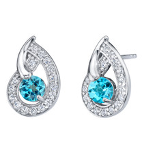Swiss Blue Topaz Sterling Silver Nautilus Stud Earrings 1.25 Carats Total