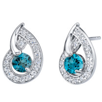 London Blue Topaz Sterling Silver Nautilus Stud Earrings 1.25 Carats Total