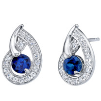 Created Blue Sapphire Sterling Silver Nautilus Stud Earrings 1.25 Carats Total