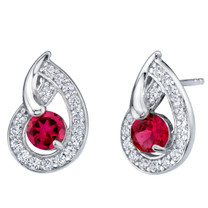 Created Ruby Sterling Silver Nautilus Stud Earrings 1.25 Carats Total