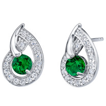 Simulated Emerald Sterling Silver Nautilus Stud Earrings 1.00 Carat Total