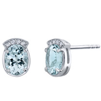 Aquamarine Sterling Silver Aura Stud Earrings 2.00 Carats Total
