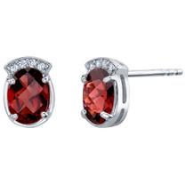Garnet Sterling Silver Aura Stud Earrings 3.00 Carats Total
