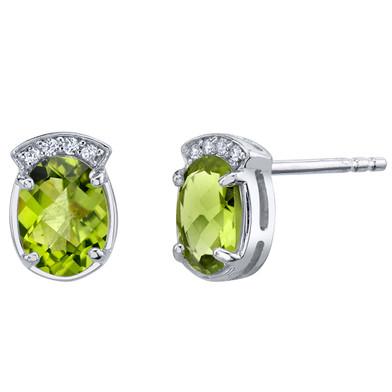 Peridot Sterling Silver Aura Stud Earrings 2.50 Carats Total