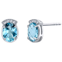 Swiss Blue Topaz Sterling Silver Aura Stud Earrings 2.75 Carats Total