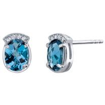 London Blue Topaz Sterling Silver Aura Stud Earrings 2.75 Carats Total