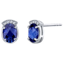 Created Blue Sapphire Sterling Silver Aura Stud Earrings 3.00 Carats Total