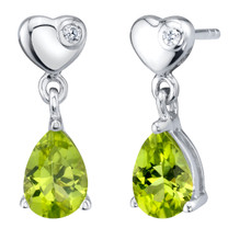 Peridot Sterling Silver Heart Dangle Drop Earrings 1.25 Carats Total