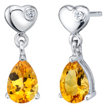 Citrine Sterling Silver Heart Dangle Drop Earrings 1.25 Carats Total