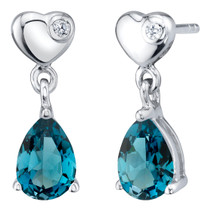 London Blue Topaz Sterling Silver Heart Dangle Drop Earrings 1.50 Carats Total