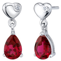 Created Ruby Sterling Silver Heart Dangle Drop Earrings 1.75 Carats Total