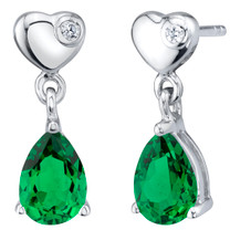 Simulated Emerald Sterling Silver Heart Dangle Drop Earrings 1.25 Carats Total