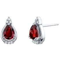Garnet Sterling Silver Empress Stud Earrings 1.50 Carats Total