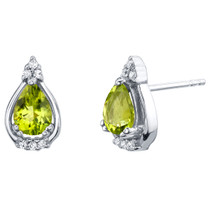 Peridot Sterling Silver Empress Stud Earrings 1.25 Carats Total