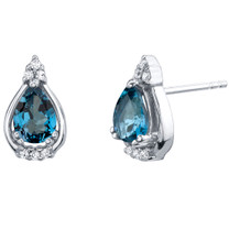 London Blue Topaz Sterling Silver Empress Stud Earrings 1.50 Carats Total
