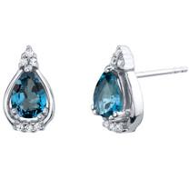 London Blue Topaz Sterling Silver Empress Stud Earrings 1.50 Carats Total