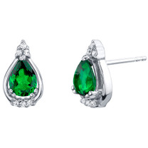 Simulated Emerald Sterling Silver Empress Stud Earrings 1.00 Carat Total