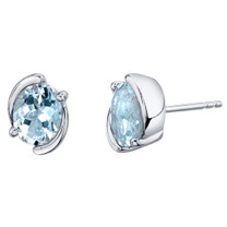Aquamarine Sterling Silver Bezel Stud Earrings 2.25 Carats Total