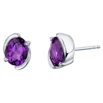 Amethyst Sterling Silver Bezel Stud Earrings 2.00 Carats Total