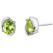 Peridot Sterling Silver Bezel Stud Earrings 2.50 Carats Total