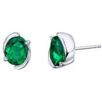Simulated Emerald Sterling Silver Bezel Stud Earrings 2.00 Carats Total