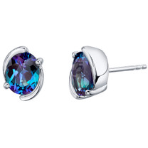 Simulated Alexandrite Sterling Silver Bezel Stud Earrings 3.50 Carats Total
