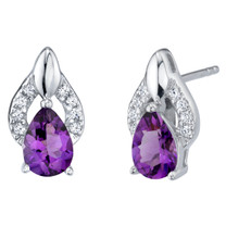 Amethyst Sterling Silver Finesse Stud Earrings 1.00 Carat Total