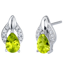 Peridot Sterling Silver Finesse Stud Earrings 1.25 Carats Total