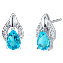 Swiss Blue Topaz Sterling Silver Finesse Stud Earrings 1.50 Carats Total