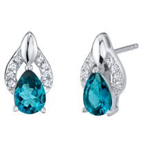 London Blue Topaz Sterling Silver Finesse Stud Earrings 1.50 Carats Total