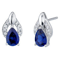 Created Blue Sapphire Sterling Silver Finesse Stud Earrings 2.00 Carats Total