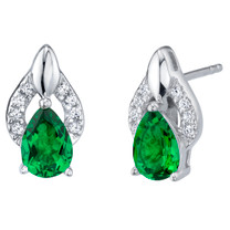 Simulated Emerald Sterling Silver Finesse Stud Earrings 1.00 Carat Total