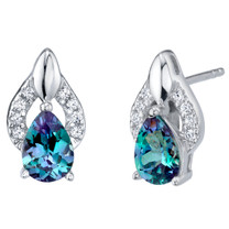 Simulated Alexandrite Sterling Silver Finesse Stud Earrings 1.75 Carats Total