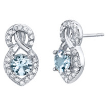 Aquamarine Sterling Silver Crossover Stud Earrings 1.25 Carats Total
