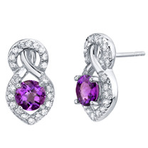 Amethyst Sterling Silver Crossover Stud Earrings 1.50 Carats Total