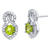 Peridot Sterling Silver Crossover Stud Earrings 1.75 Carats Total