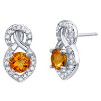 Citrine Sterling Silver Crossover Stud Earrings 1.50 Carats Total