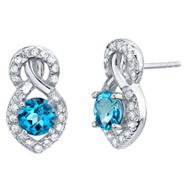 Swiss Blue Topaz Sterling Silver Crossover Stud Earrings 2.00 Carats Total