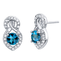 London Blue Topaz Sterling Silver Crossover Stud Earrings 2.00 Carats Total