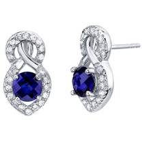 Created Blue Sapphire Sterling Silver Crossover Stud Earrings 2.00 Carats Total