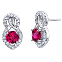 Created Ruby Sterling Silver Crossover Stud Earrings 2.00 Carats Total