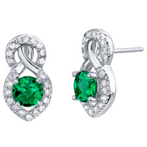 Simulated Emerald Sterling Silver Crossover Stud Earrings 1.50 Carats Total