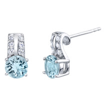 Aquamarine Sterling Silver Arc Stud Earrings 1.25 Carats Total
