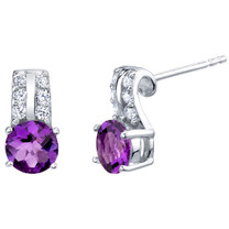 Amethyst Sterling Silver Arc Stud Earrings 1.50 Carats Total